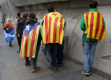 Photos taken in Edinburgh on voting day in the  Scottish Indepemdence Referendum on 18 September 2014  -  Visitors from Catalonia