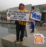 Photos taken in Edinburgh on voting day in the  Scottish Indepemdence Referendum on 18 September 2014  -  Visitor from Catalonia