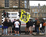 Photos taken in Edinburgh on voting day in the  Scottish Indepemdence Referendum on 18 September 2014  -  Visitors from Flanders