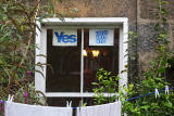 Photos taken in Edinburgh on voting day in the  Scottish Indepemdence Referendum on 18 September 2014  -  'Yes' Campaign Posters at Abbeyhill