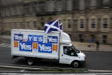 Photos taken in Edinburgh on voting day in the  Scottish Indepemdence Referendum on 18 September 2014  -  'Yes' Campaign Van at Picardy Place