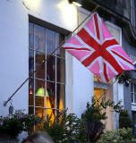 Photos taken in Edinburgh on voting day in the  Scottish Indepemdence Referendum on 18 September 2014  -  Flag at Broughton