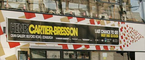 Advert for Cartier -Bresson exhibition on the side of a bus  - November 2005