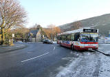 Holyrood Terminus of Lothian Buses  Route 36 and Park keeper's house near the entrance to Holyrood Park at the Scottish Parliament