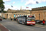 Gallery Shuttle Bus waiting outside the National Gallery of Scotland at The Mound