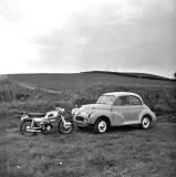 Aerial Arrow Motorcycle and Morris Minor car photographed in the 1960s, probably at Lasswade Road, Edinburgh