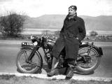 James Morton-Robertson's dad and hisAJS motorcycle - about 1936