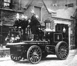A 1906  Merryweather Fire King fire engine outside Braid Place Fire Station