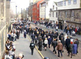 The Funeral Procession for John Burns approaches Canongate Kirk in the Royal Mile, March 2008