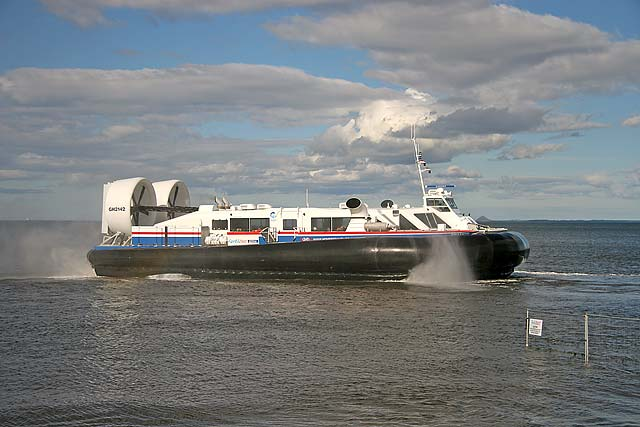 Hovercraft departing from