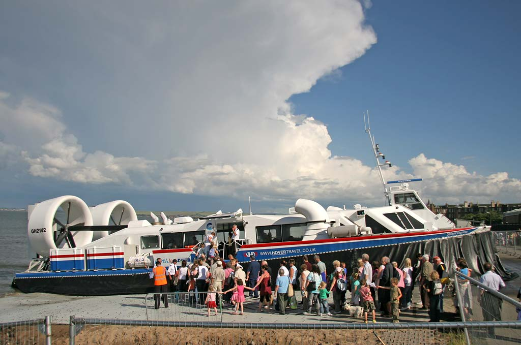 Another full load of passengers board the hovercraft at Portobello, during the second day of trials for the Portobello-Kirkcaldy service  -  July 16, 2007