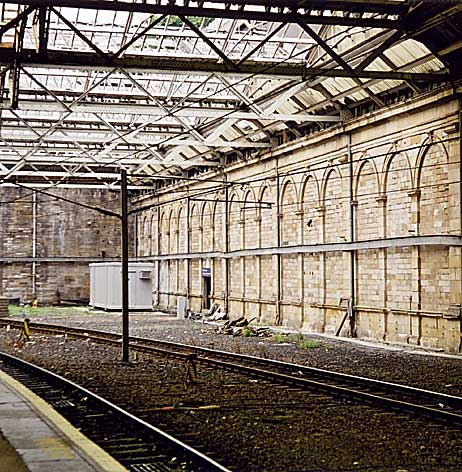 Terminus of Scotland Street Station  -  now unused for over 130 years  -  opposite platform 19 in Waverley Station
