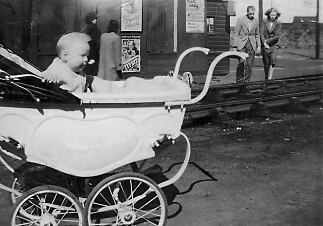 Where is it  -  Photograph of a railway line and a pram.  Possibly Newhaven or Granton