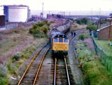 A train at Texaco Sidings, Granton  -  1980