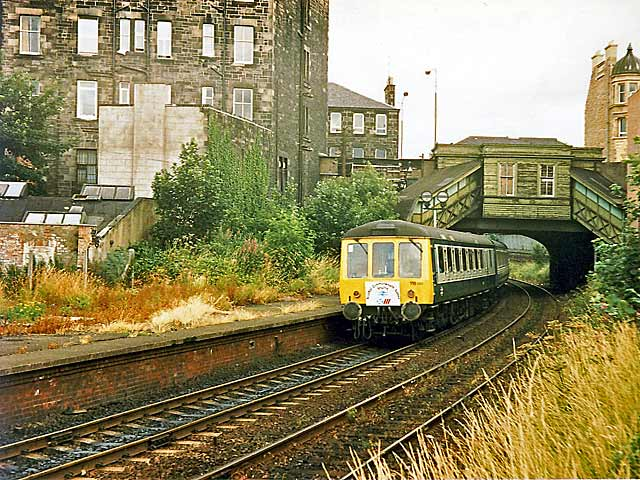 Abbeyhill Station  -  One of the special shuttle trains from Edinburgh Waverley Station to the Commonwealth Games at Meadowbank Stadium
