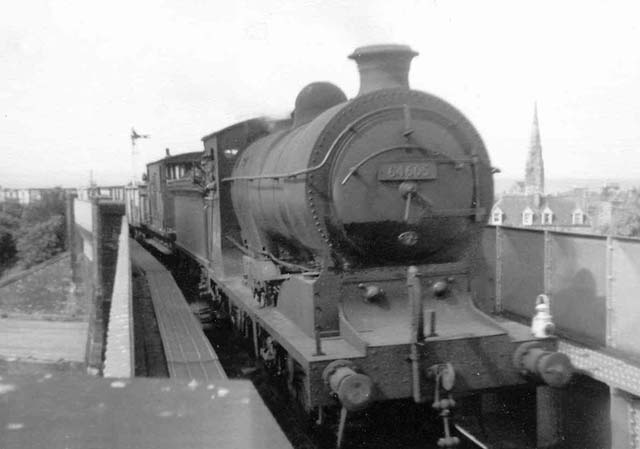 A steam-hauled train on Lothian Line above Portobello - now site of the Sir Harry Lauder Road