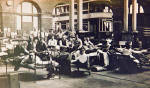 Beds and men in Shrubhill Transport Department workshop during the strike of 1920