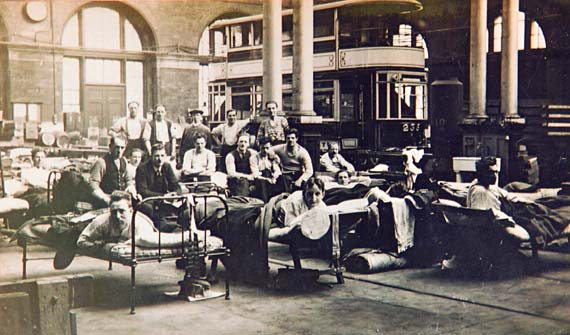 Beds and men in Shrubhill Transport Department workshops during the strike of 1920
