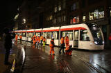 Tram Testing on December 5, 2013  -  Tram turning into Princes Street, after leaving St Andrew Square