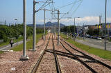Edinburgh Tram Service  -  Looking towards Arthur Seat from the tram heading for York Place, after leaving the tram stop at Edinburgh Park Station  -  June 2014