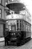 Alex Pringle and his tram at Church Hill, around 1922-26