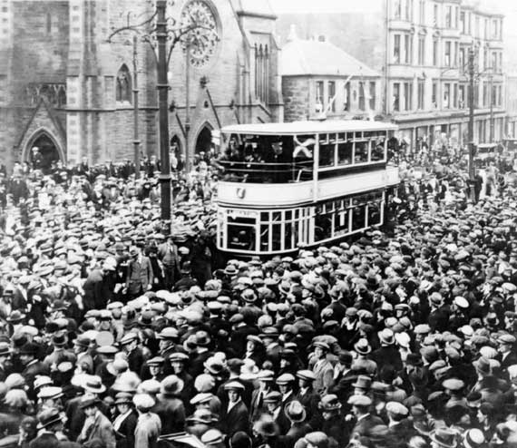 Tram and large crowd at Pilrig  -  When?
