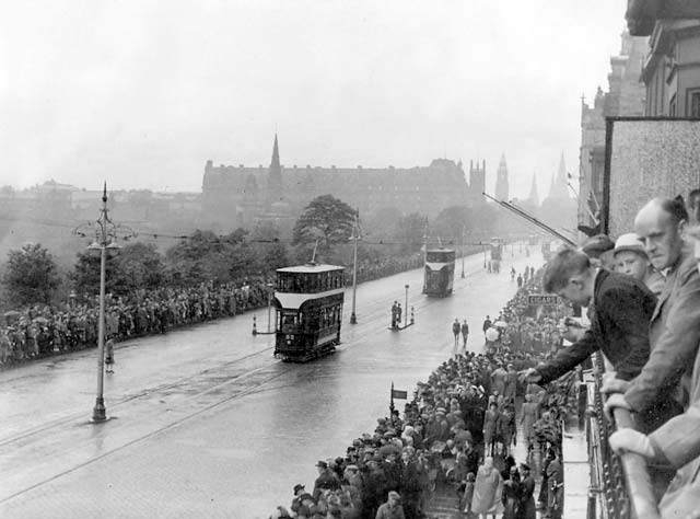 Trams and crowds in Princes Street.  When was this photograph taken and what was the occasion?