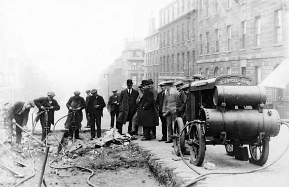 Hanover Street  -  Workers preparing for the introduction of Edinburgh's Cable Cars