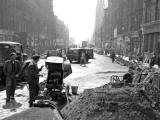 Looking to the west  along Shandwick Place, towards Haymarket, as the tram lines were being lifted in 1955