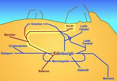 Edinburgh's Railways  -  The Caledonian Railway from Edinburgh to North Leith bia the northern suburbs of Edinburgh