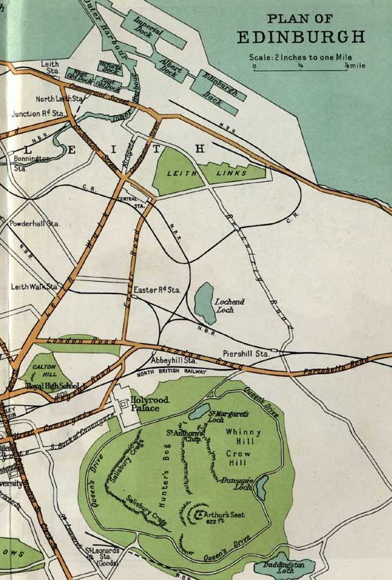 Edinburgh  -  Map including railways  -  early 1900s