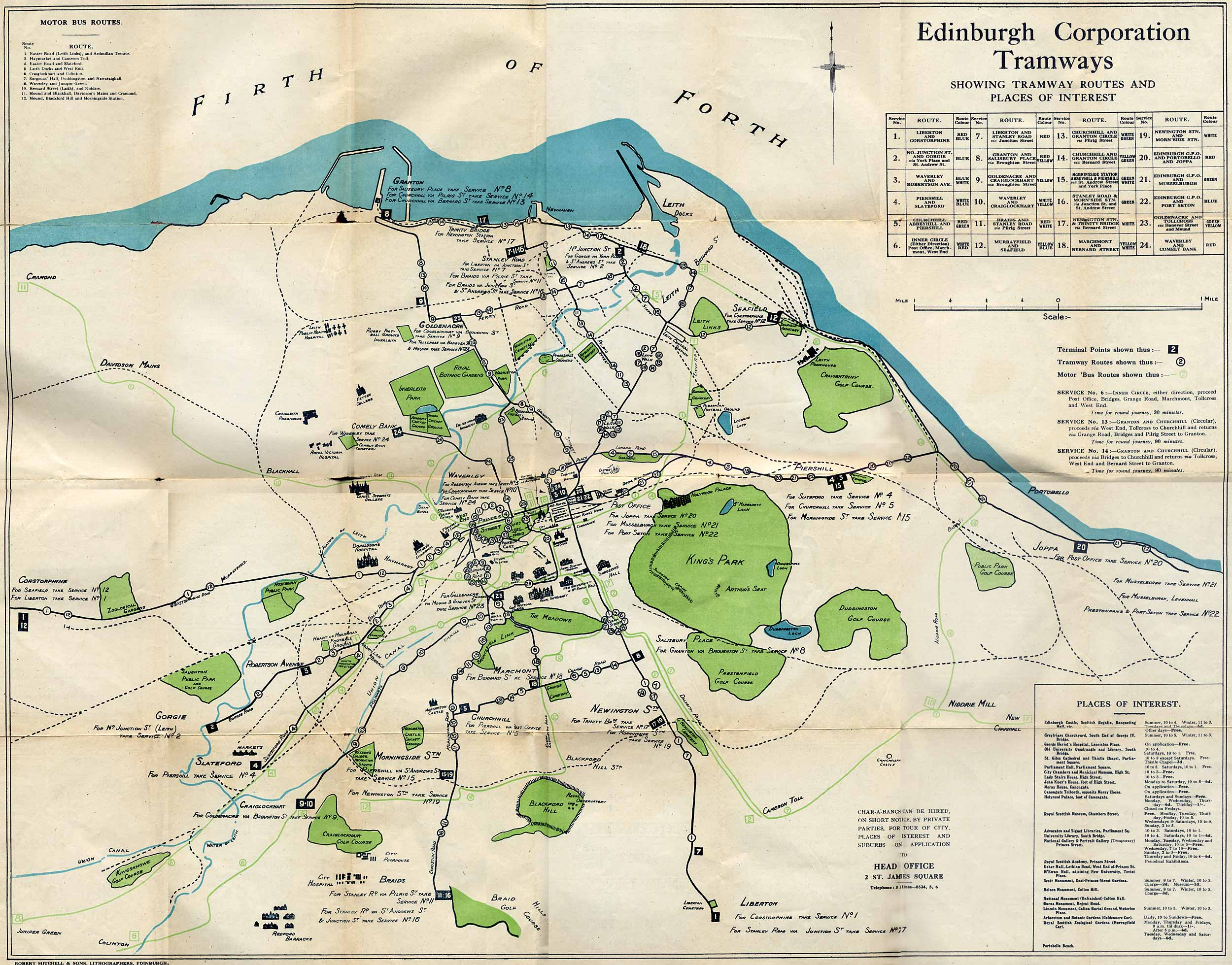 1924 Map of Edinburgh Trams and Buses