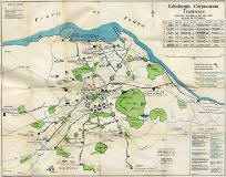 Edinburgh Corporation Transport Department  -  Map of Tram and Bus Routes  -  1924