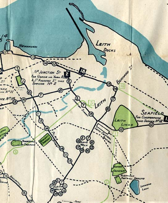 Edinburgh Corporation Transport Department  -  Map of Edinburgh Tram and Bus Routes  -  1924  -  Leith