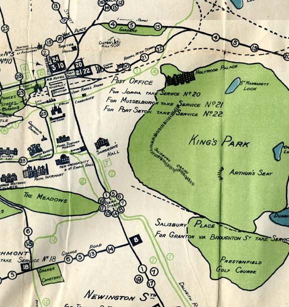 Edinburgh Corporation Transport Department  -  Map of Tram and Bus Routes  -  1924  -  Newington