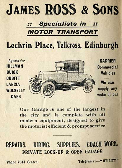 Advertisement on the back of an Edinburgh Corporation Transport Department tram and bus map from the mid-1920s