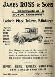 Advertisement from the back of an Edinburgh Corporation Transport Department map from the mid-1920s.
