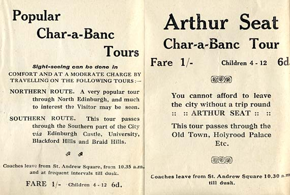 Advsrtisements from the back of an Edinburgh Corporation Transport Department map from the mid-1920s
