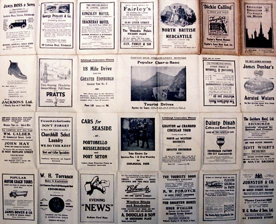 Adverts on the back of an Edinburgh Corporation Transport Department map of Tram and Bus routes  -  1924