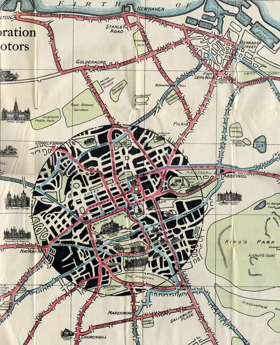 Edinburgh Corporation Transport Department  -  Map of Tram and Bus Routes  -  1928