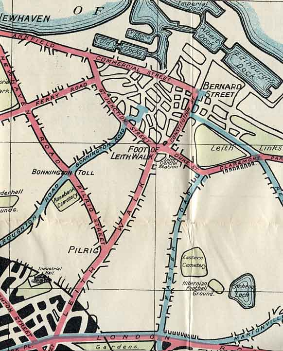 Edinburgh Corporation Transport Department  -  Map of Edinburgh Tram and Bus Routes  -  1928  -  Leith