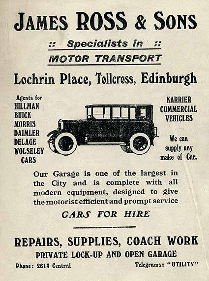 Advert on the back of an Edinburgh Corporation Tramways Department map, published around 1928