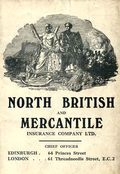 Advert on the back of an Edinburgh Corporation Tramways Department map, published around 1928  -  North British and Mercantile Insurance Company
