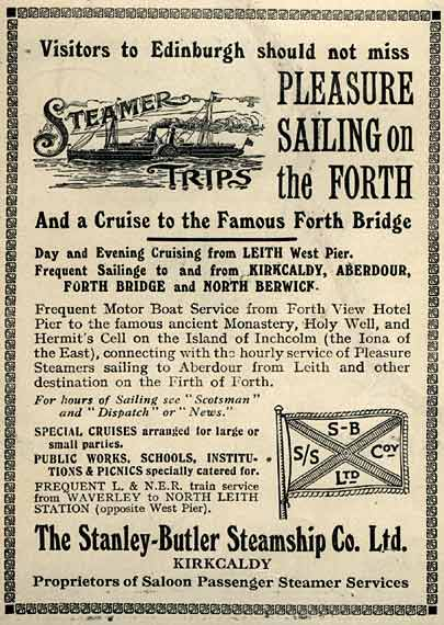 Advert on the back of an Edinburgh Corporation Tramways Map, published around 1928  -  Steamer Sailings on the Firth of Forth
