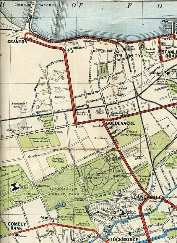Edinburgh Corporation Transport Department  -  Map of Tram and Bus Routes  -  1932  -  Granton