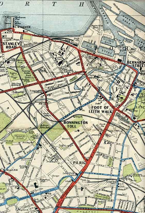 Edinburgh Corporation Transport Department  -  Map of Tram and Bus Routes  -  1932  -  Leith