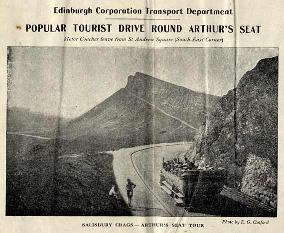 Advert from the back of an Edinburgh Corporation Transport Department map, published around 1928  -  Popular Tourist Drive Round Arthur's Seat