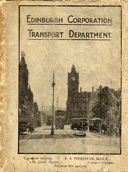 The Cover of an Edinburgh Corporatiion Transport Department Map  -  published about 1932