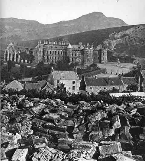 Holyrood Palace and Castle from Calton Hill - Photograph by Begbie