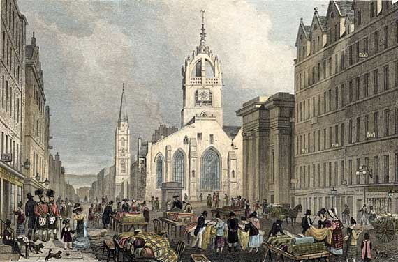 Engraving from 'Modern Athens'  -  hand-coloured  -  St Giles Church and The Lawnmarket